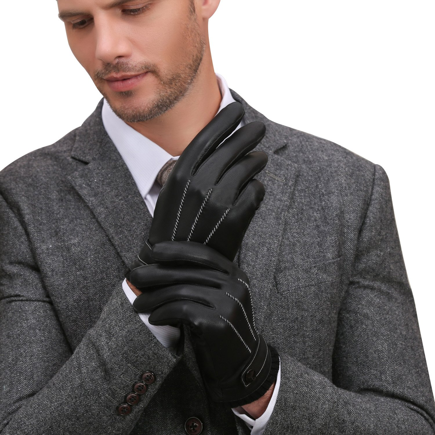 Mens gloves fashion - Gsg Mens Luxury Winter Spain Nappa Leather Gloves Hi Tech Touchscreen Texting Motorcycle Gloves Wool Faux Fur Lining Nice Birthday Christmas Gifts At