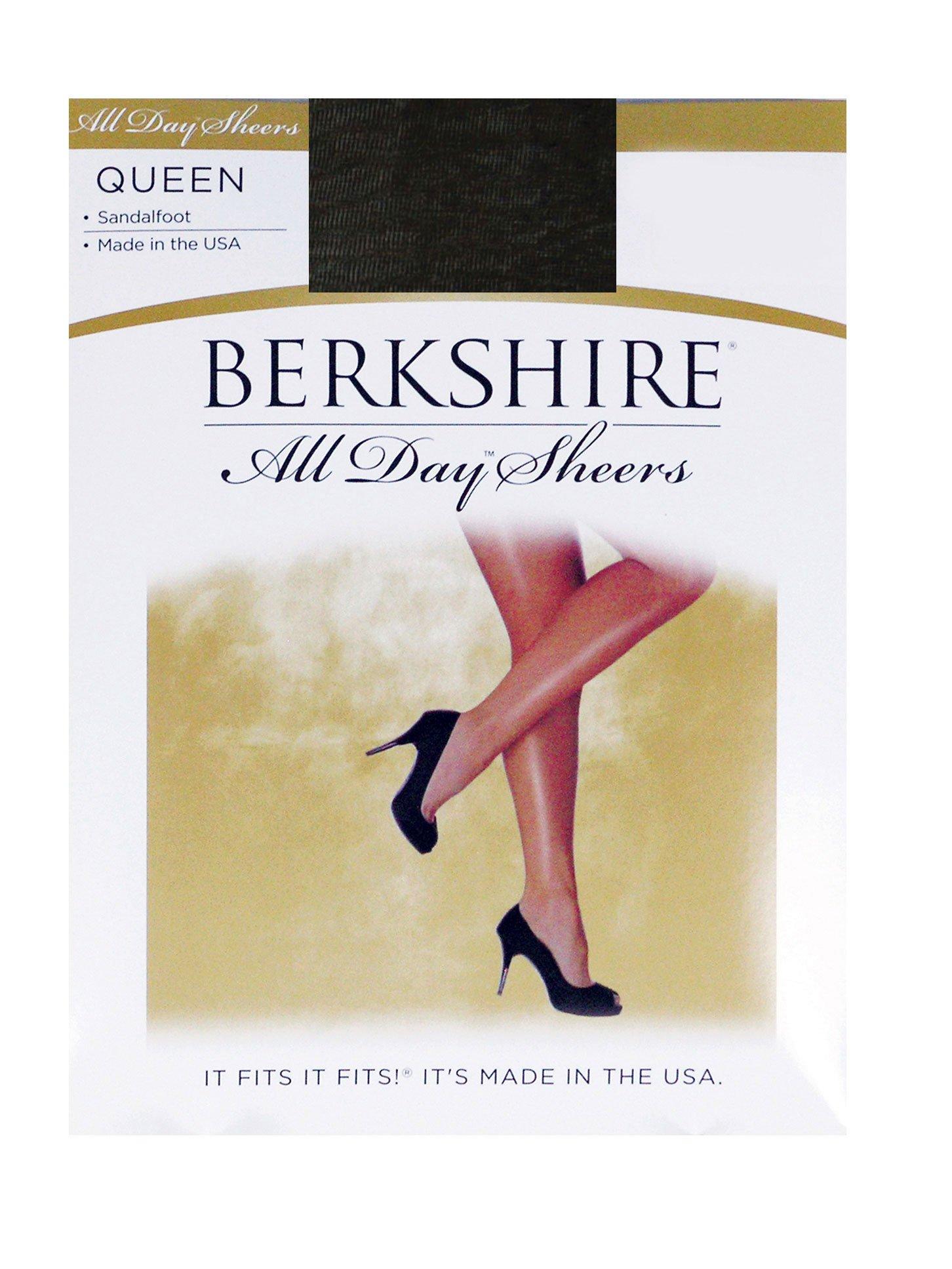 Berkshire Women's Plus-Size Queen All Day Sheer Pantyhose - Non Control Top Sandalfoot, Fantasy Black, Queen Petite