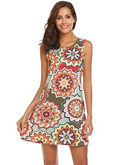ec2e7d14a2905 Image Unavailable. Image not available for. Color: SimpleFun Women's Summer  Sleeveless Bohemian Print Tunic Swing Loose Pockets T-Shirt Dress ...