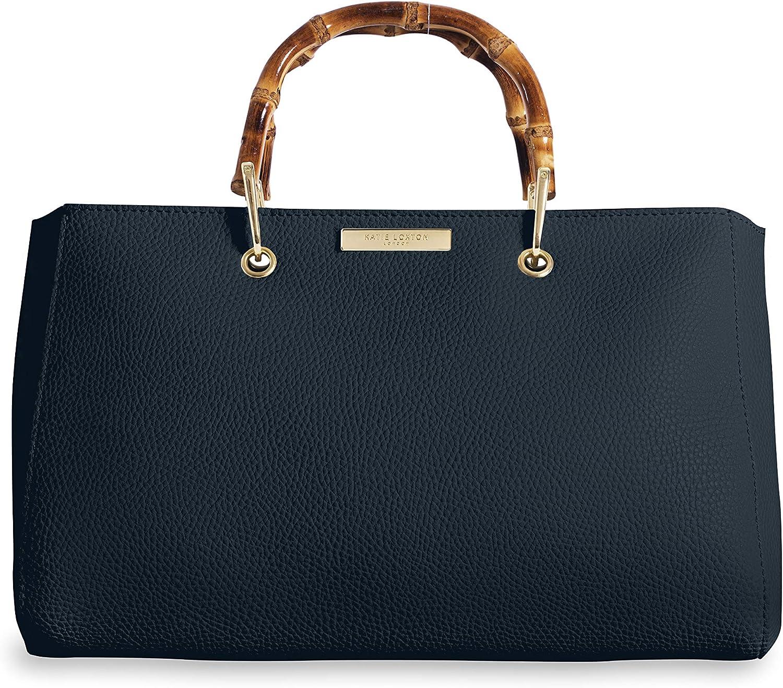 Katie Loxton Avery Navy Large Women's Vegan Leather Bamboo Top Handle Handbag