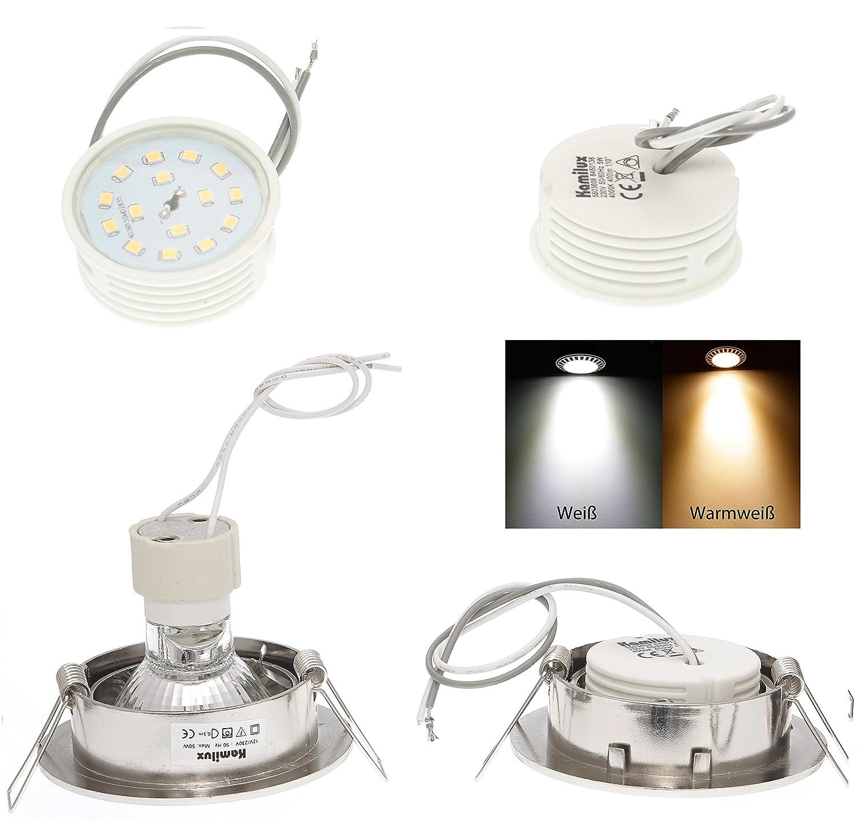 5x Keramik LED Modul 5Watt Leuchtmittel für Einbaustrahler ultra flach Dimmbar: Ja 3 Stufen Step Dimmbar 400Lumen 230Volt Lichtfarbe: Kaltweiss 25mm Körperlänge Abstrahlwinkel: 110° Kamilux