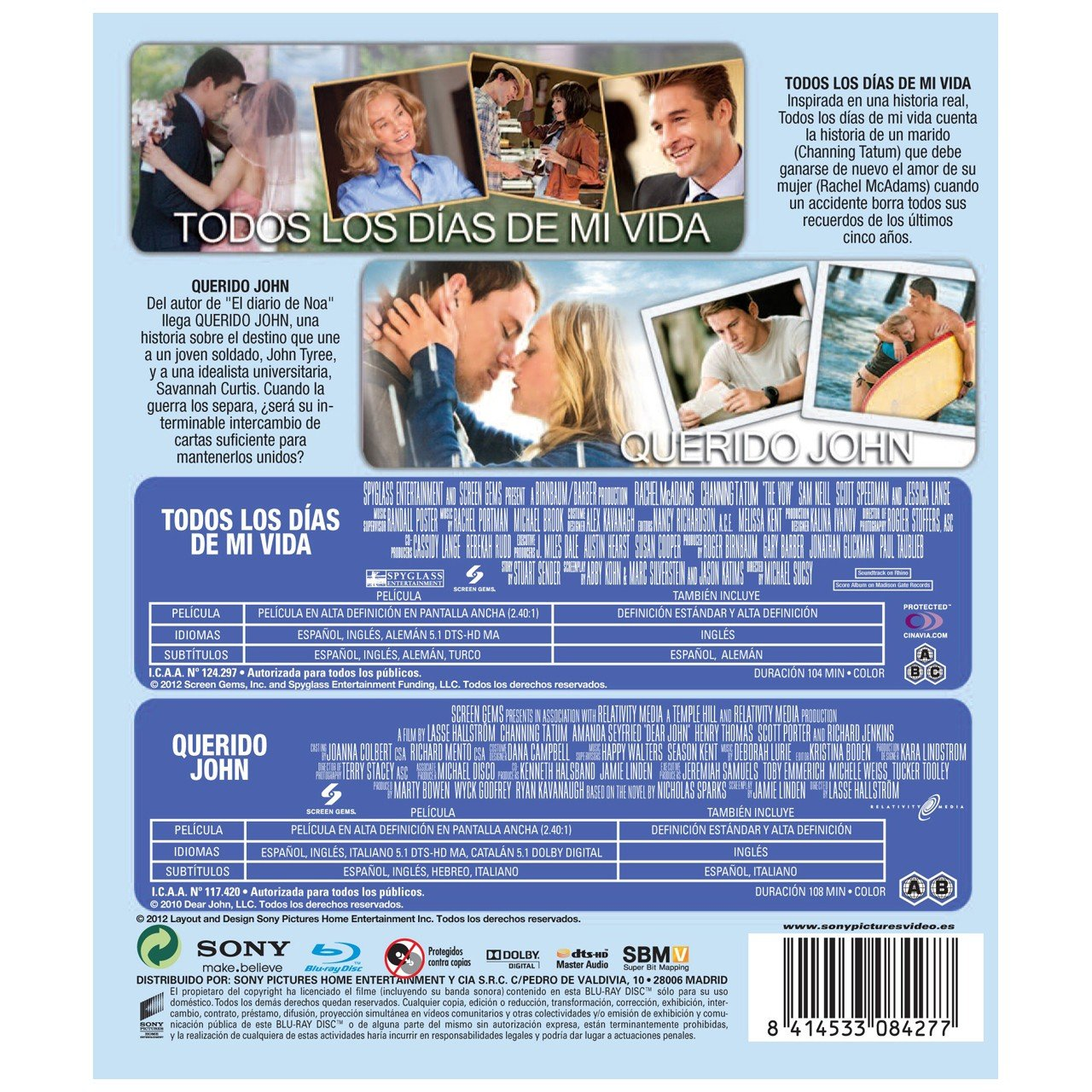 Pack Todos Los Días De Mi Vida Querido John Blu Ray Import Movie European Format Zone B2 2012 Chan Movies Tv
