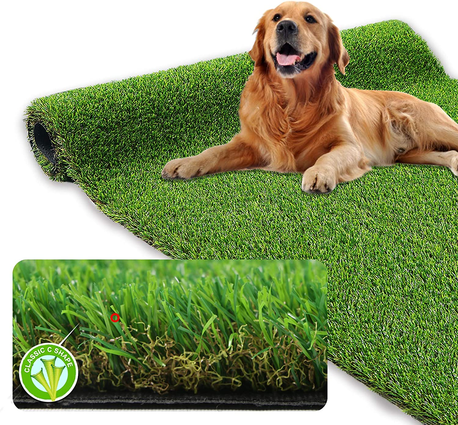 "XLX TURF Premium Thick Artificial Grass Rug 3ft x 5ft for Indoor/Outdoor, 1.38"" Pile Height, Realistic Synthetic Fake Grass Dog Pet Turf Mat Carpet Garden Lawn Landscape"