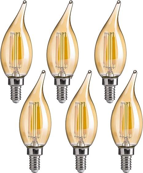 Amazon Com Ca11 E12 Led Candelabra Bulbs Flsnt Dimmable Led Chandelier Light Bulbs 4 5w 40w Equivalent 2200k Warm White Light Cri80 330lm Amber Glass Finishing 6 Pack Home Improvement