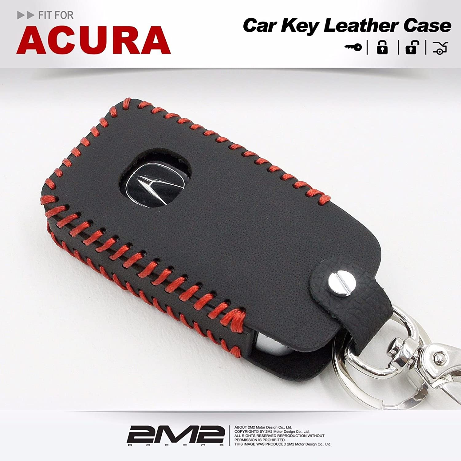 ac04-06-001 Leather Key Fob Holder Case Chain Cover fit For 2018 ACURA RLX RDX MDX ILX