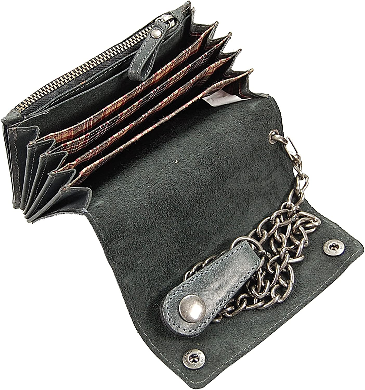 Porte-monnaie Portefeuille portemonee Portefeuille Chaînes Bourse Motard en Cuir Noir