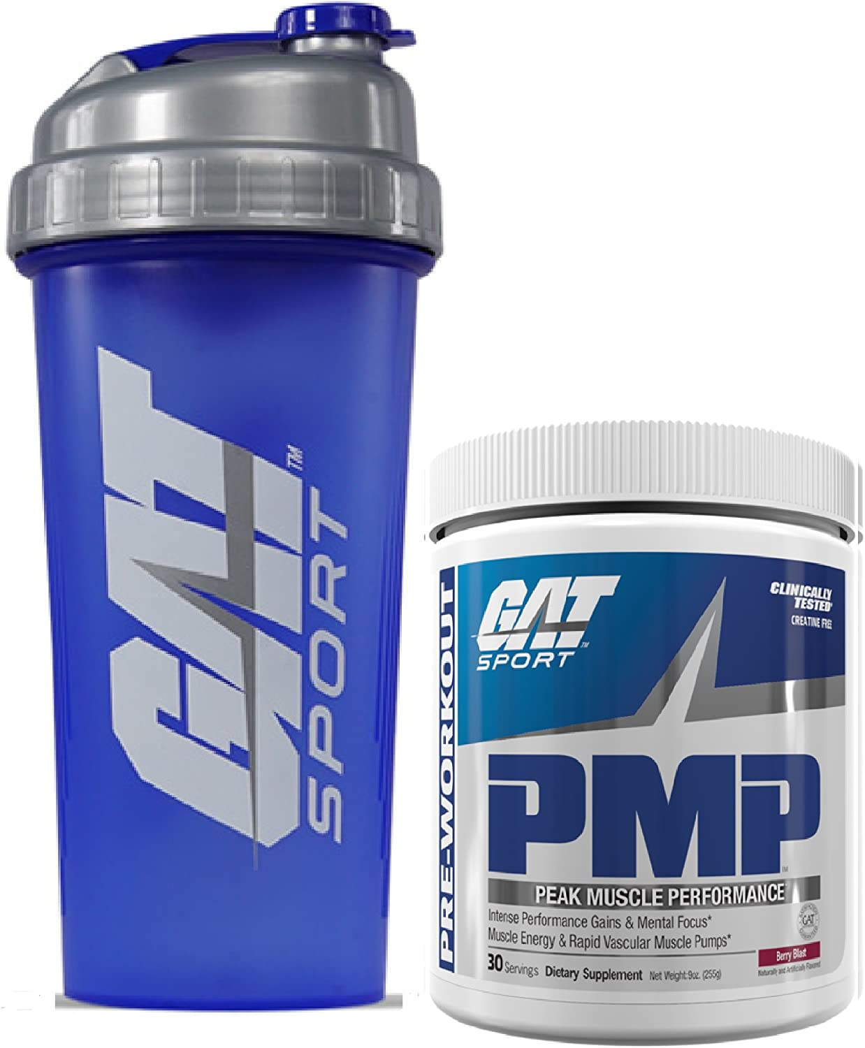GAT PMP Peak Muscle Performance Pre-Workout Powder, 9 oz 30 svgs with Bonus GAT Shaker Bottle Berry Blast