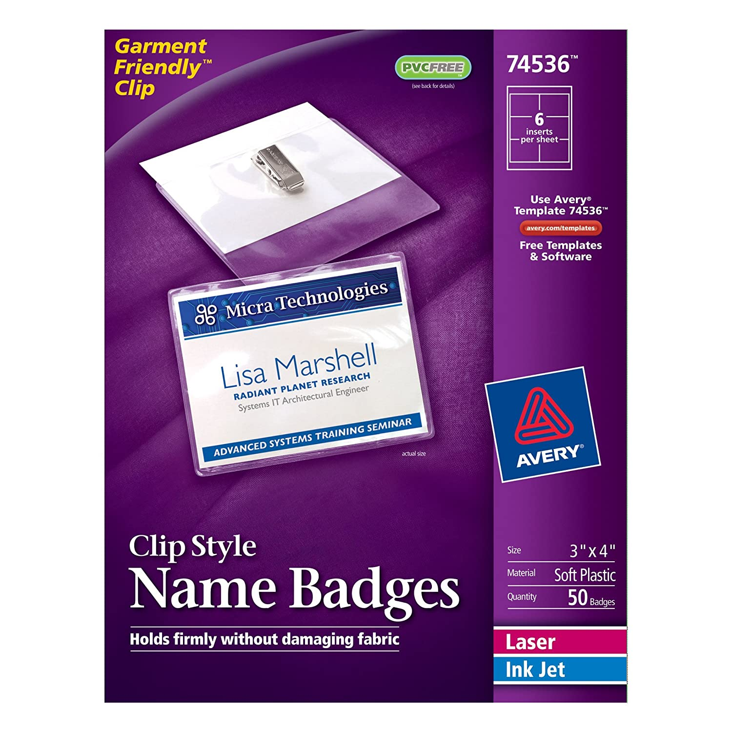 Amazon avery top loading garment friendly clip style name amazon avery top loading garment friendly clip style name badges 3 x 4 box of 50 74536 badge holders office products pronofoot35fo Gallery
