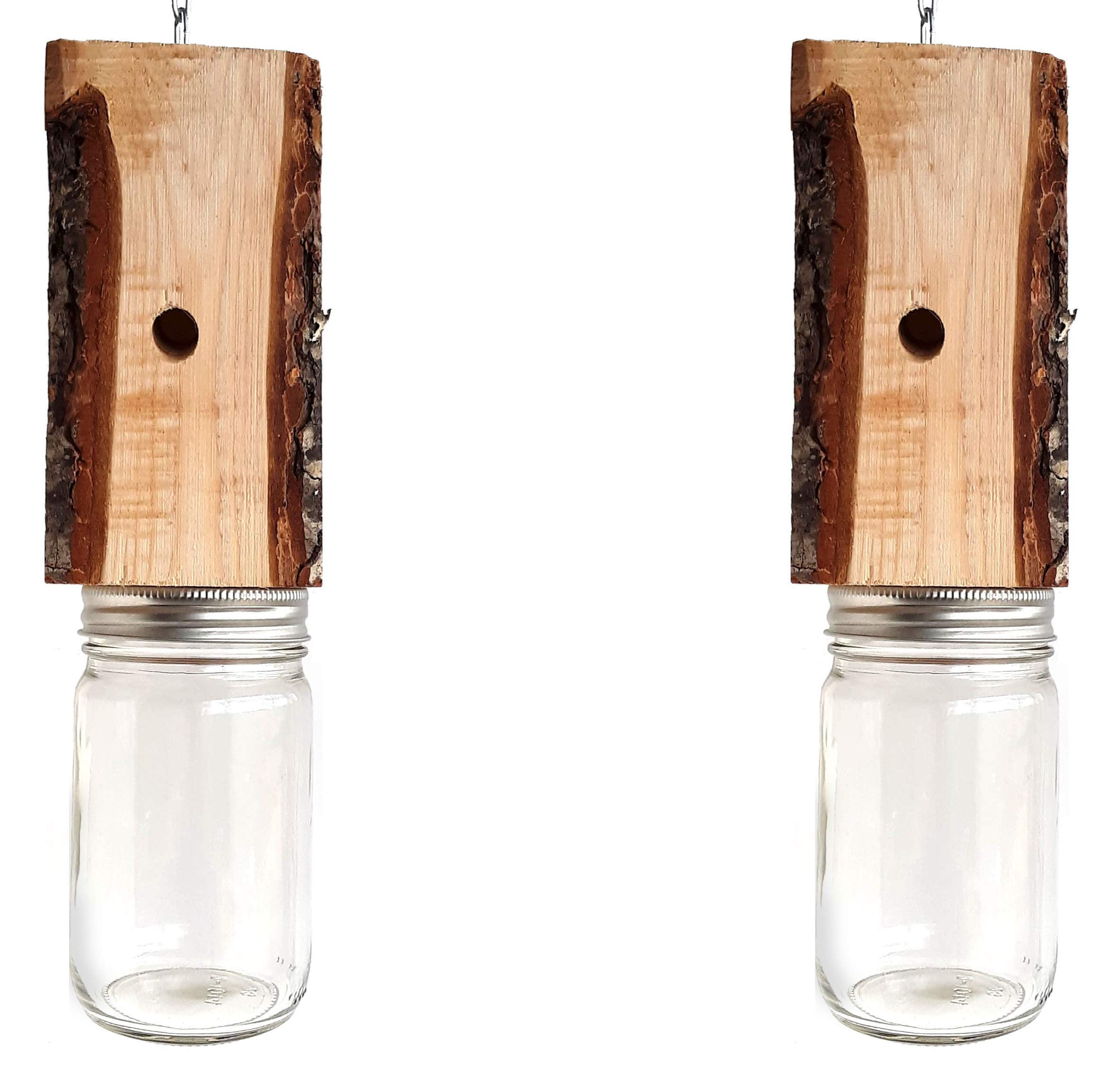 Mac's LLC Carpenter Bee Trap Natural Wood with Bark Set of Two