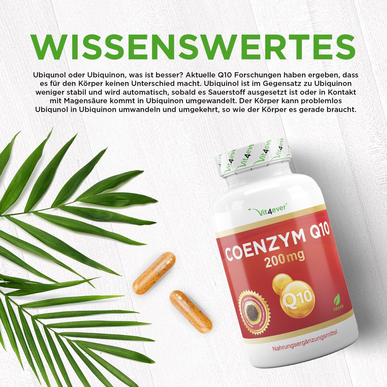 Coenzym Q10 - 200 mg pro Kapsel - 180 Kapseln im 6 Monatsvorrat ...