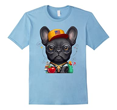 Mens Black French Bulldog - Schoolkid T-Shirt 2XL Baby Blue
