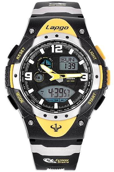 DSstyles Reloj Deportivo Impermeable 10 ATM Reloj Digital analógico para Hombres - Amarillo, con Doble Tiempo, Alarma, cronómetro Cronógrafo: Amazon.es: ...