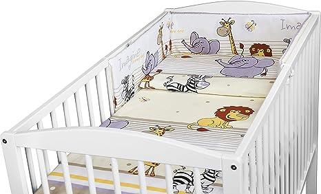 Bumper Duvet Cover Duvet Baby Bedding Set Pillowcase Pillow 5PC Size 120x90cm to FIT COT 120x60cm Sweet Animals Blue
