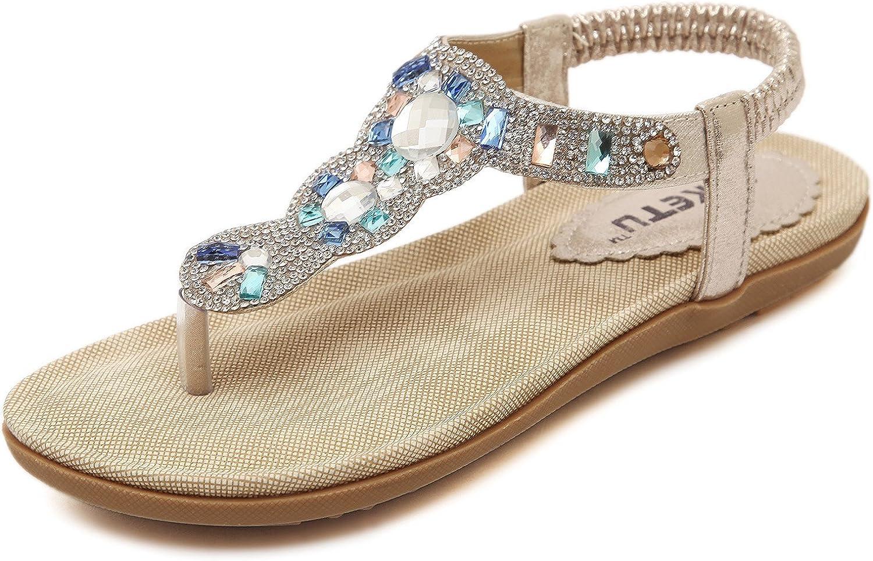 DQQ Womens Gold Gladiator Thong Sandal 8.5 US
