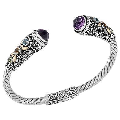 71e79143c22 Amazon.com: Artisanica 18 Karat Yellow Gold and Sterling Silver Amethyst  Multi-Gemstone Cuff Bracelet: Jewelry
