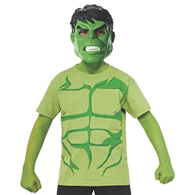 Marvel Avengers Assemble Incredible Hulk Costume T-Shirt with Mask, Medium: Toys & Games