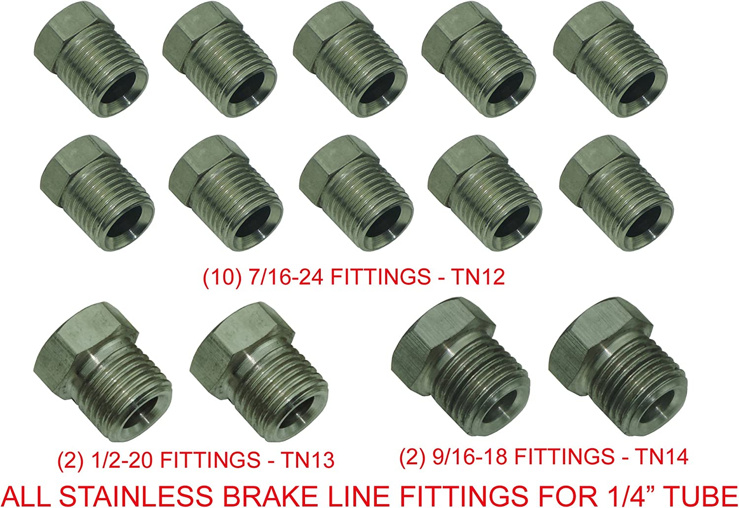 Pack of 12 7//16-24 Stainless Steel Fittings for 1//4 tube