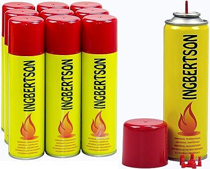 Ingbertson - Gas para encendedor, 10 x 250 ml, gas universal para rellenar mecheros, gas butano y propano