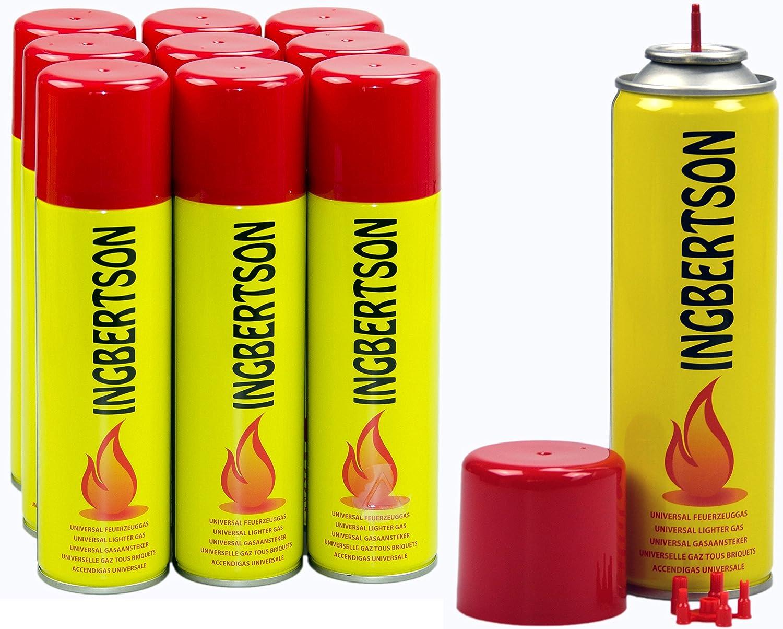 Ingbertson - Gas para encendedor, 10 x 250 ml, gas universal para rellenar mecheros, gas butano y propano: Amazon.es: Jardín
