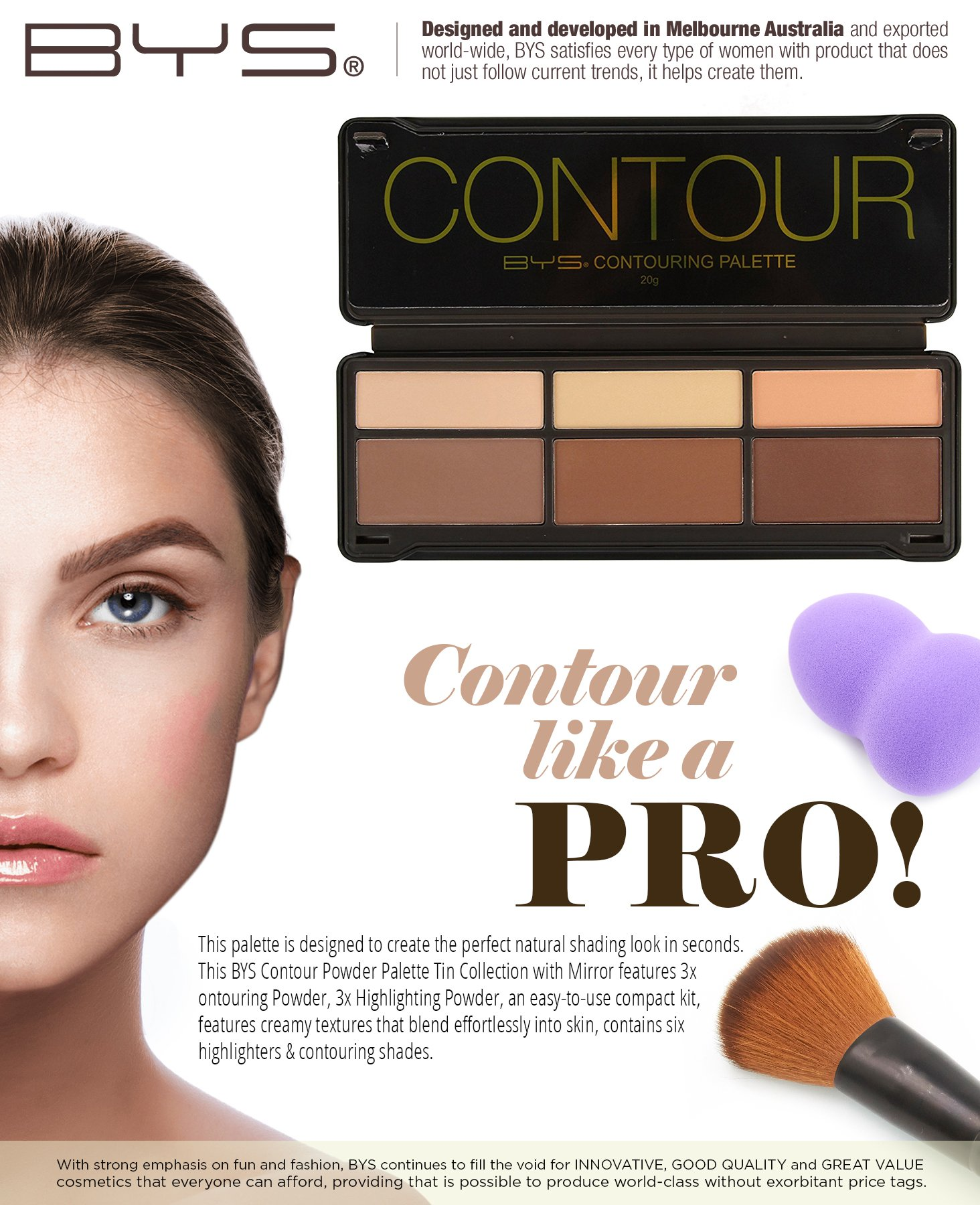 BYS Contour Palette (3x Contouring Powder, 3x Highlighting Powder) by BYS (Image #2)