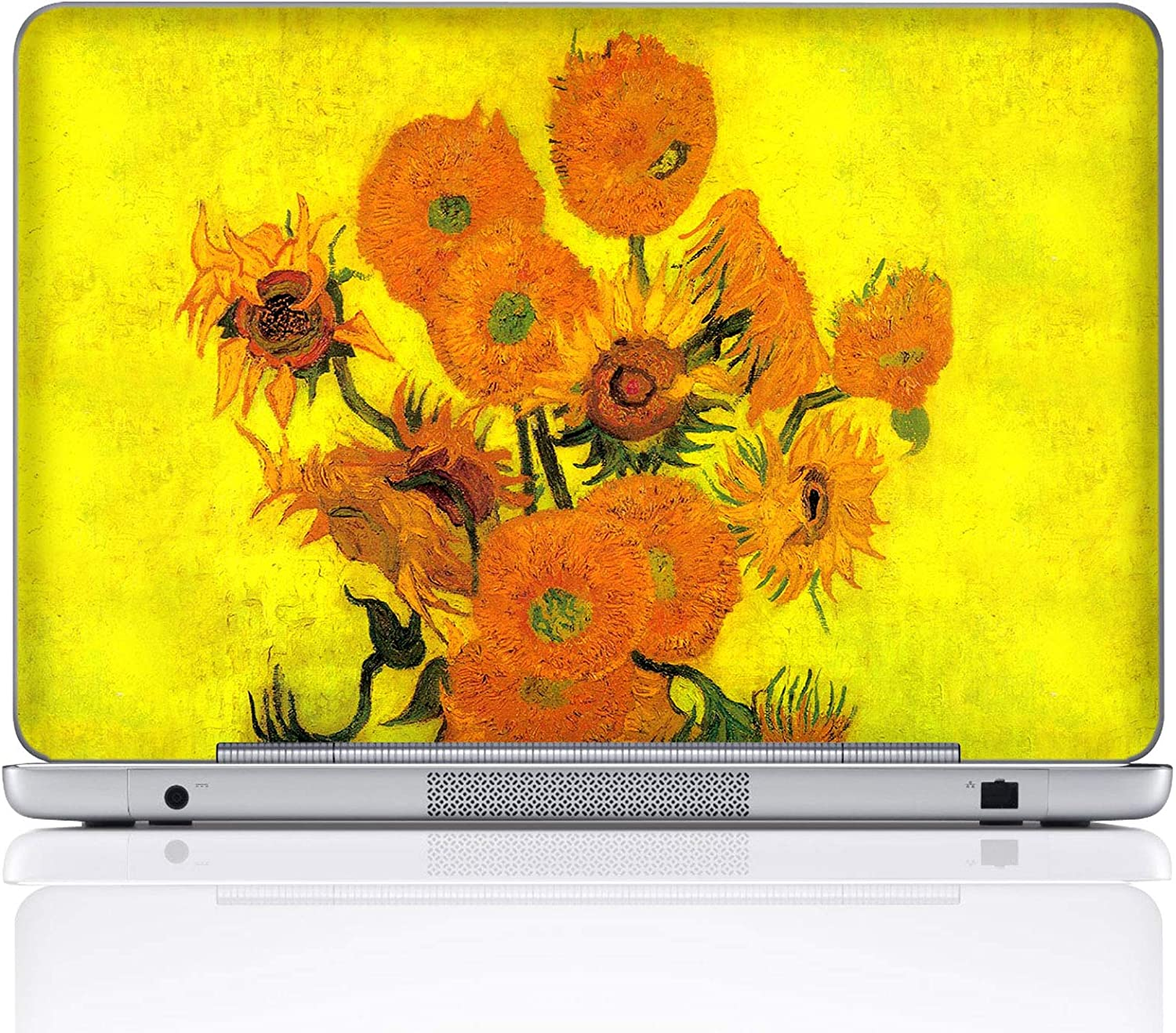 Meffort Inc 17 17.3 Inch Laptop Notebook Skin Sticker Cover Art Decal (Included 2 Wrist pad) - Van Gogh Sunflowers