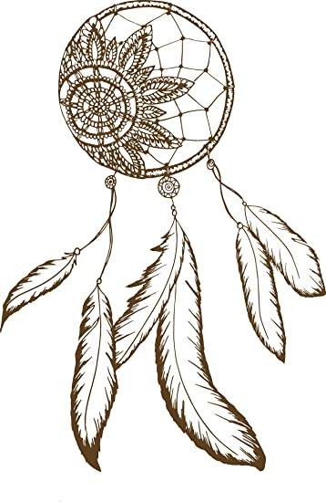 Amazon Com Dainty Brown Henna Flower Dream Catcher Drawing Vinyl
