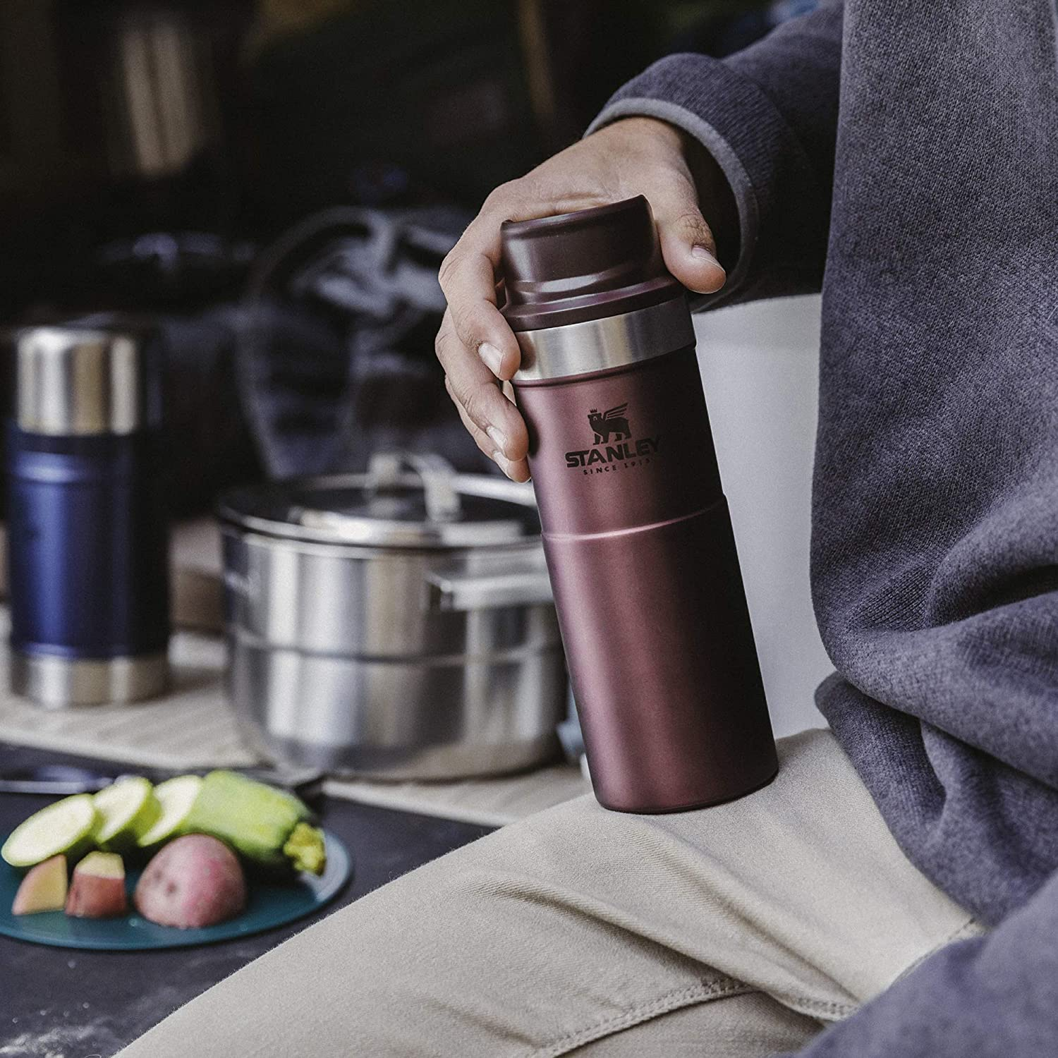 Camping & Hiking Stanley Classic Trigger Action Travel Mug 16 oz 0.47L WINE  RED Water Bottles & Hydration