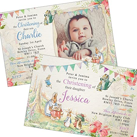 peter rabbit christening baptism invitations envelopes party