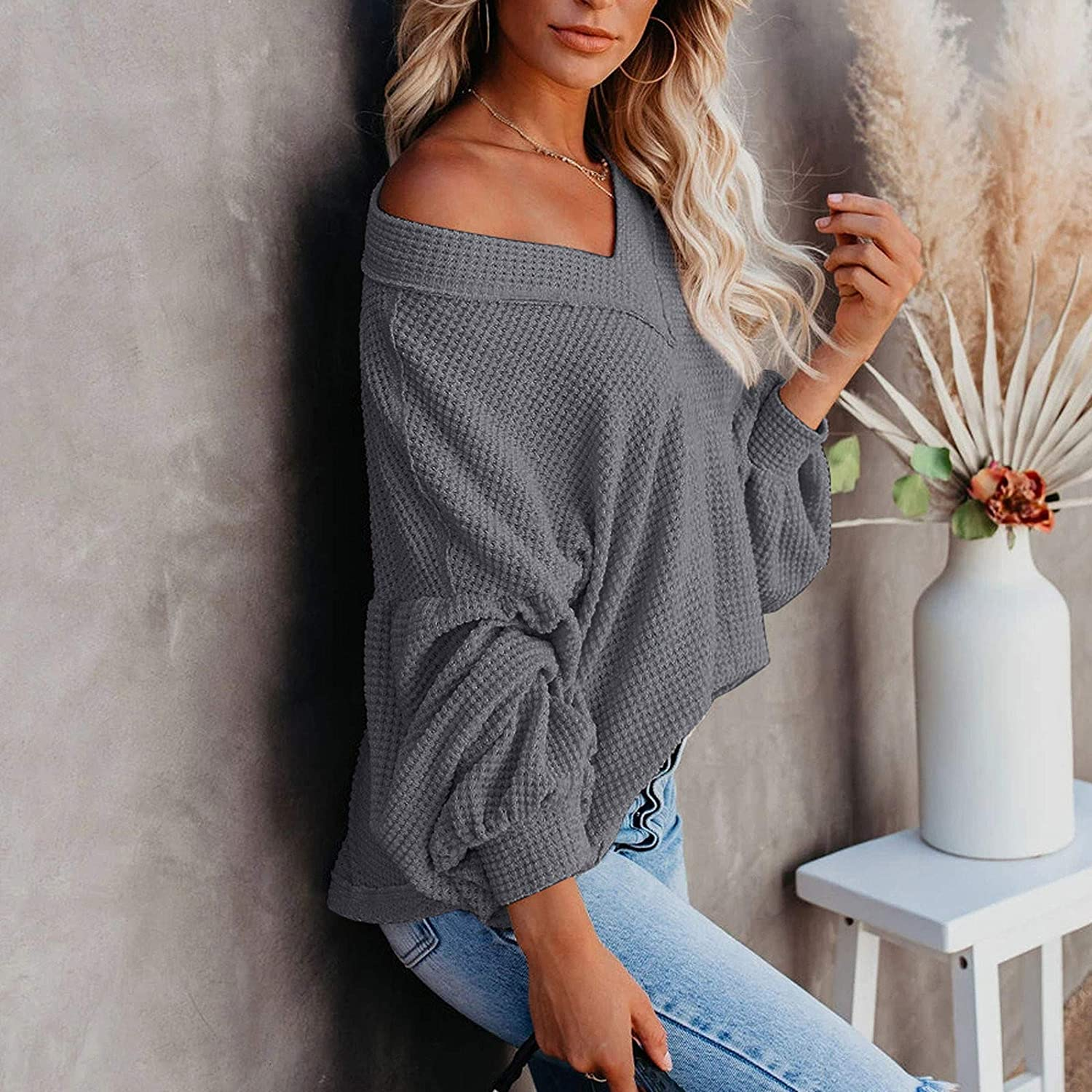 6865 Women Hollow Out Knitting Tunic Tops Long Sleeve v Neck Casual Loose Solid Color Shirt