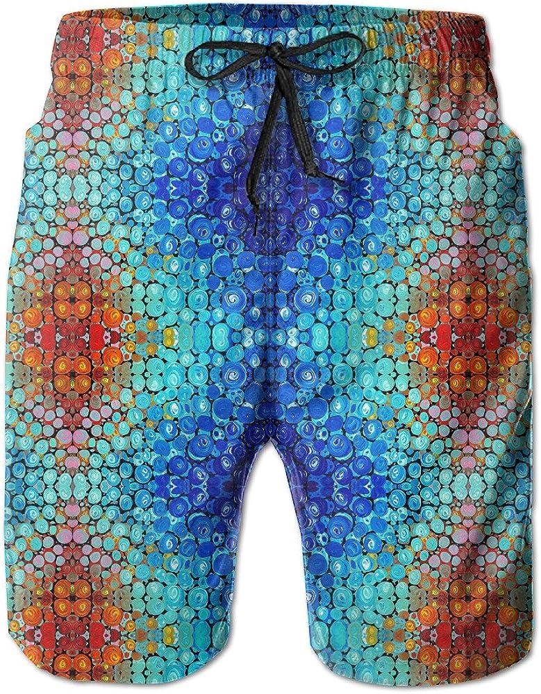 DeearShorts Retro Mosaics Tie Dye Elastic Waist Mens Boardshorts Quick-drying Swim Trunks Board Shorts With Pocket XXL