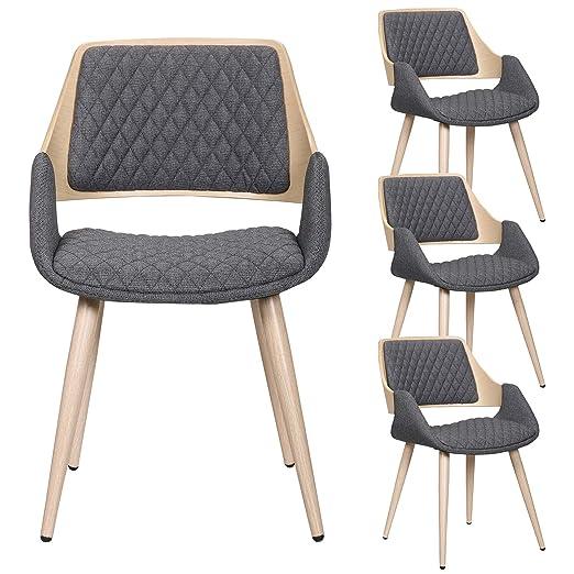 eSituro Juego de 4 sillas de Comedor, sillas esquineras de ...