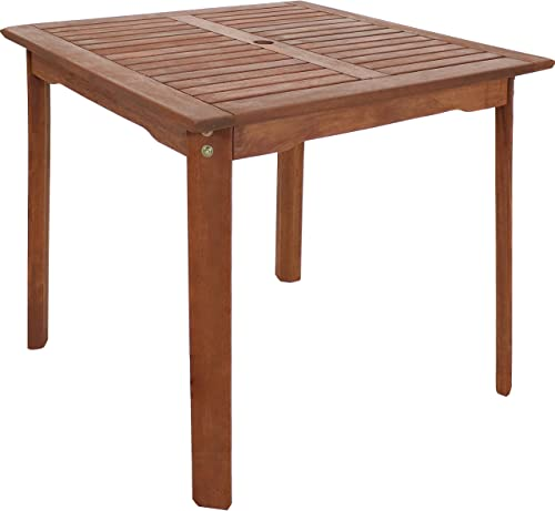 Sunnydaze Meranti Wood 31.5-Inch Square Table with Teak Oil Finish – Rustic Outdoor Dining Patio Table – Perfect for Outdoor Entertaining – Ideal for The Backyard, Front Porch, Patio and Garden