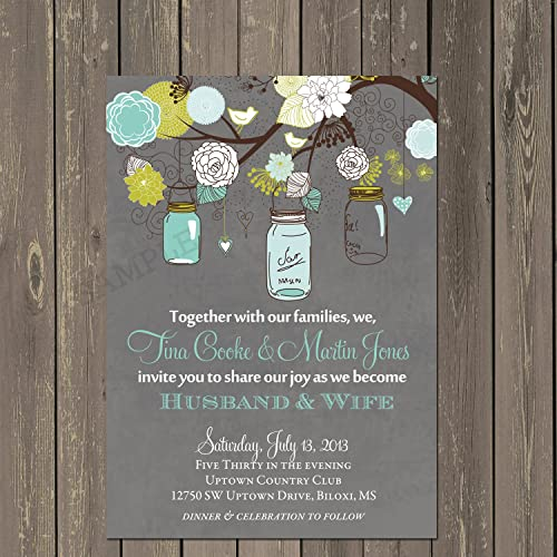 Amazon Com Mason Jar Wedding Invitation Rustic Wedding