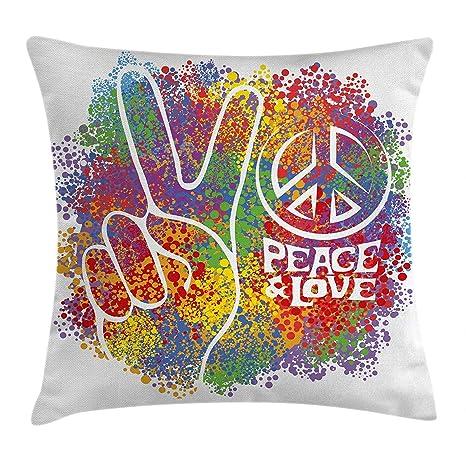 KAKICSA Funda de cojín años 70, diseño de símbolo Hippie de Paz y ...