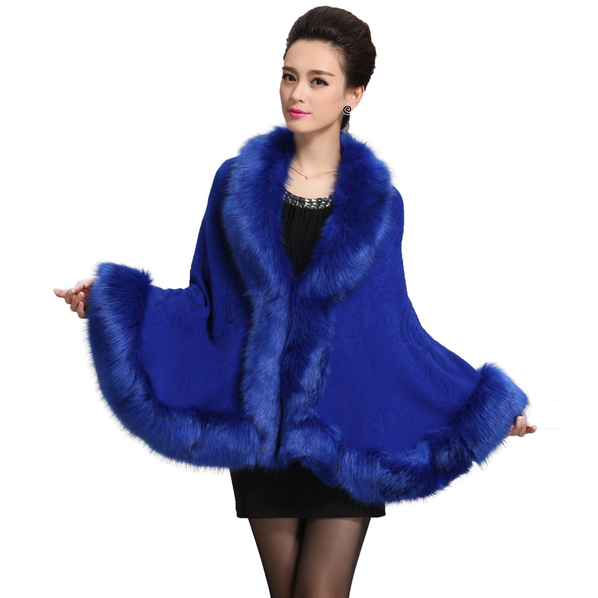 f353f5e7f4f Caracilia Women Bridal Faux Fur Shawl Wraps Cloak Coat Sweater Royal Blue