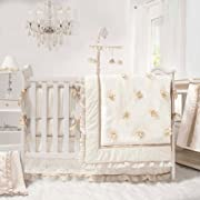 Juliette White, Ivory and Gold 4 Piece Baby Crib Bedding Set by The Peanut Shell