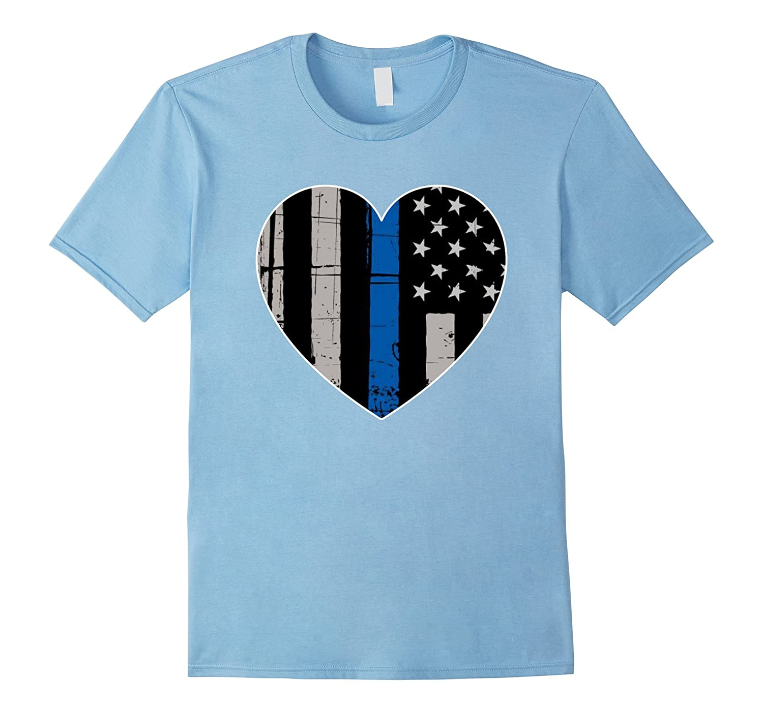 Thin Blue Line USA Heart Flag LEO Police Support T Shirt-RT