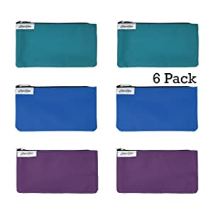 Reusable Snack Bags: 6 Pack Snack Bag Set Lunch Baggies for Kids and Adults, Dishwasher Safe, Eco Friendly Fabric Snackbags, Kid Friendly, Washable Storage Food Bags With Zipper for Snacks