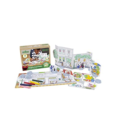 Green Toys SSCPT-1325 Sesame Street Neighborhood Maker Coloring Activity Set, Multi: Toys & Games