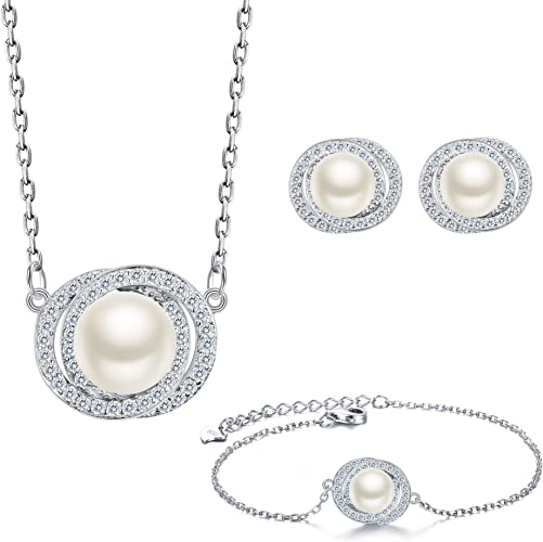 Necklace Earring Set 925 Sterling Silver CZ AAA Freshwater Pearls Bridal Jewelry