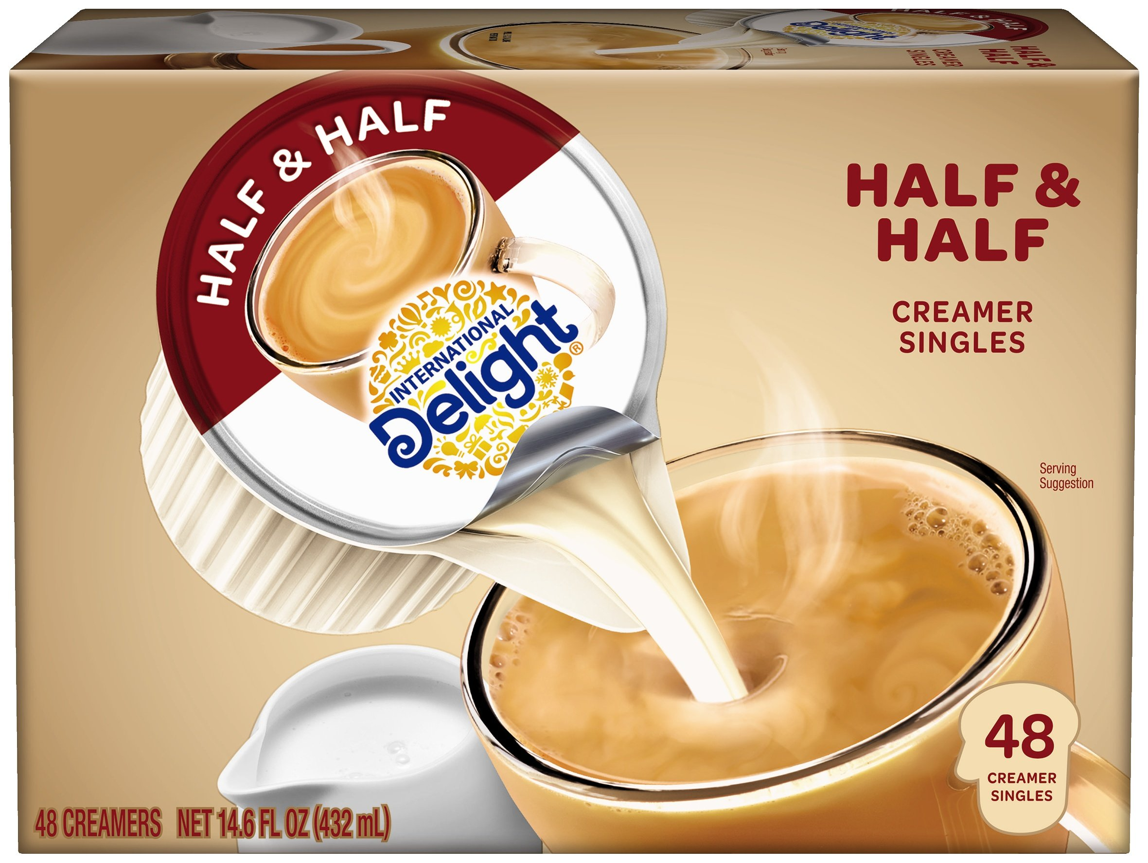 International Delight, Coffee House Inspirations Half and Half, 48 Count (Pack of 4), Single-Serve Coffee Creamers, Shelf Stable, Great for Home Use, Offices, Parties or Group Events