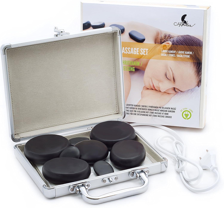 Piedras de lava de masaje (8 piezas) en un maletín de calefacción, un juego de piedras para masaje facial, de espalda, de piernas y de todo el cuerpo, spa, bienestar y relajación