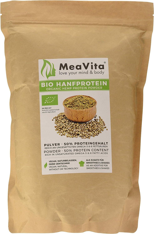 Meavita Polvo De Proteína De Cáñamo Orgánico, 50% De Contenido De Proteína, 1 Paquete (1 X 1000G) 1000 g