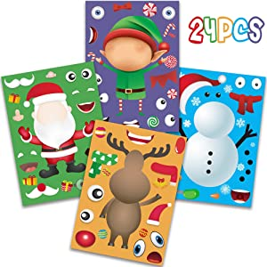 Happy Storm Christmas Party Games for Kids Make Your Own Christmas Stickers DIY Christmas Santa Snowman Reindeer Elf Face Sticker Xmas Party Supplies Favors for Classroom Children Activities