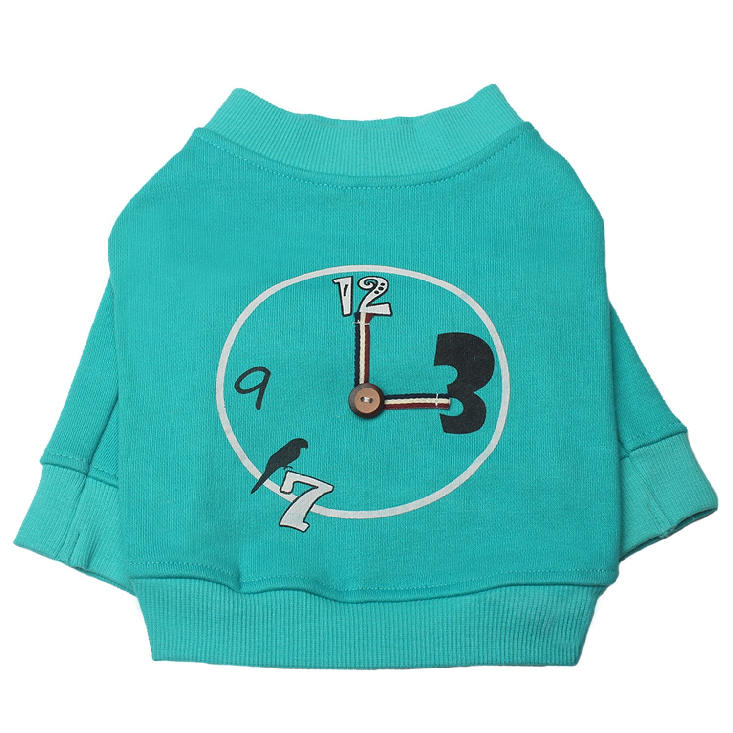 TONY HOBY Clock Dog Hoodies Basic Elbow Sleeve Dog Sweater Cotton Made Pet Clothes for Small Dogs