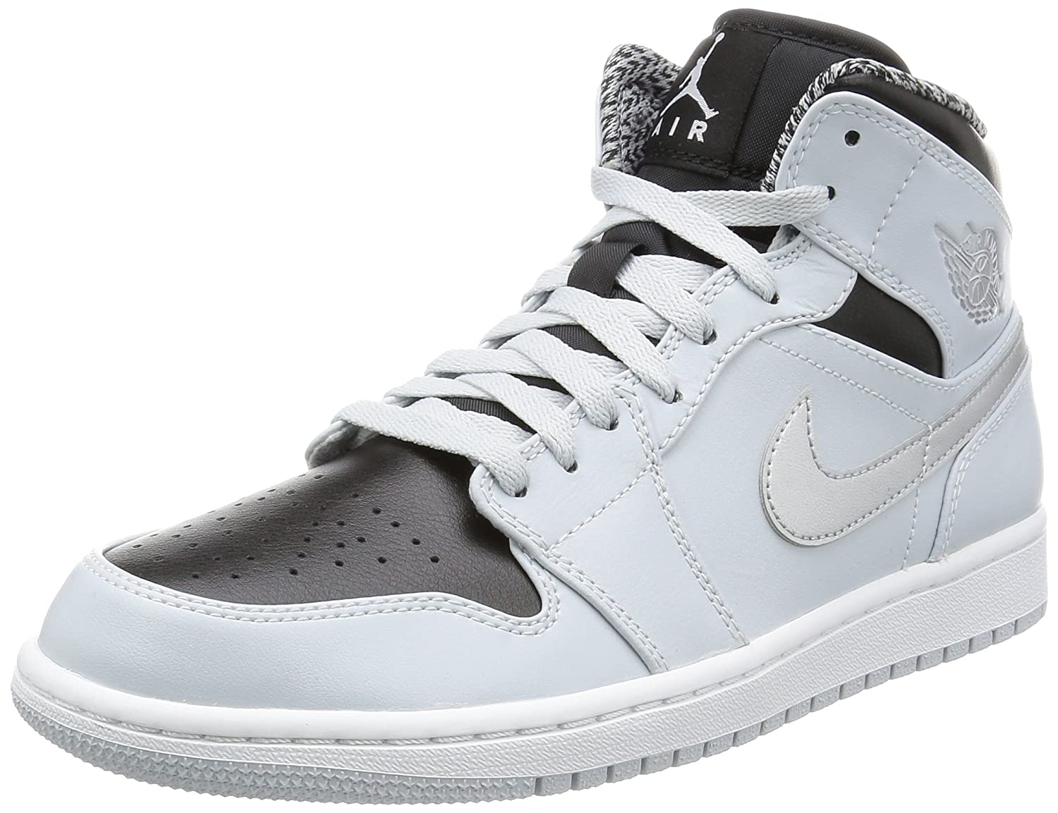 buy online cf3a9 58fa4 Amazon.com  Jordan Nike Air 1 MID Sneaker (12 D(M) US, Gray Black Silver White)   Sports   Outdoors