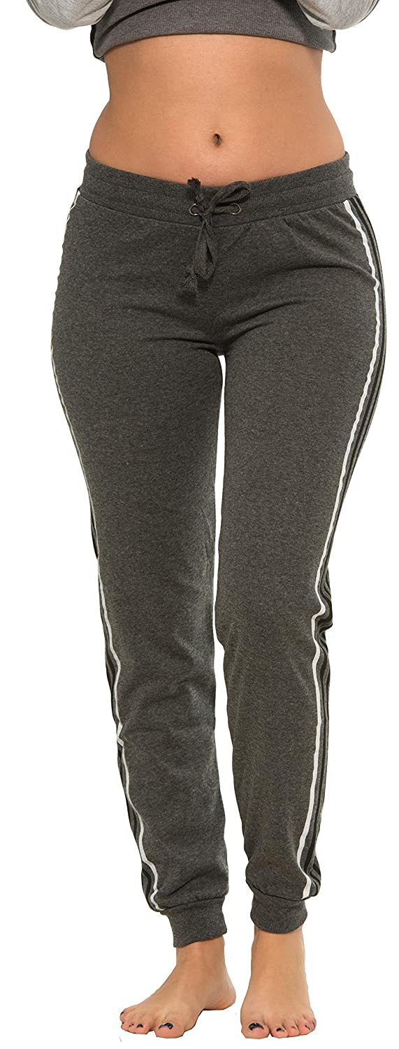 Coco-Limon Women Regular & Plus-Size Jogger Sweatpants – Multi-Striped Leg E760P