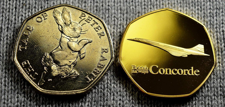 Monete Commemorative da 50 Pence in Argento Concorde Air France New Supersonic Jet Oro per Collezionisti di Monete