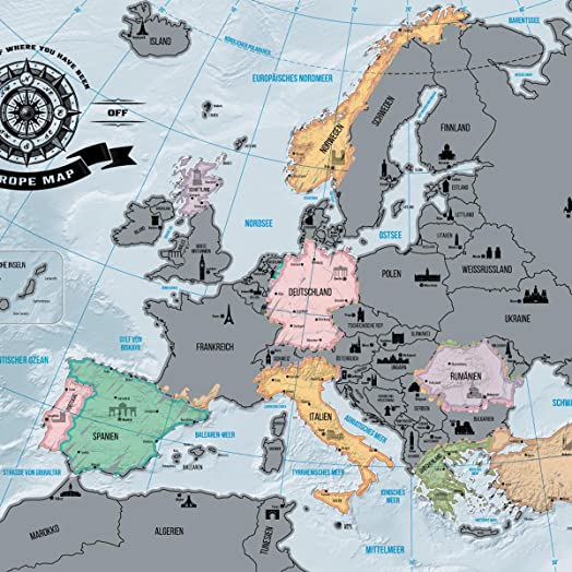 Scrape off europe map deluxe personalized travel world map wall scrape off europe map deluxe personalized travel world map wall decoration poster xxl gumiabroncs Gallery