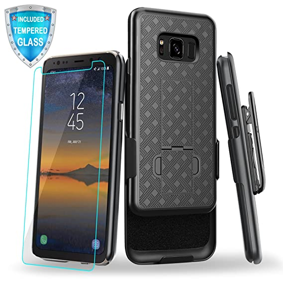 sale retailer d1040 d8c3f Galaxy S8 Active Case, Cellularvilla Kickstand Belt Clip Holster Case with  Tempered Glass Screen Protector for Samsung Galaxy S8 Active SM-G892A - ...